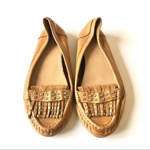 Aldo tan loafers with gold detail